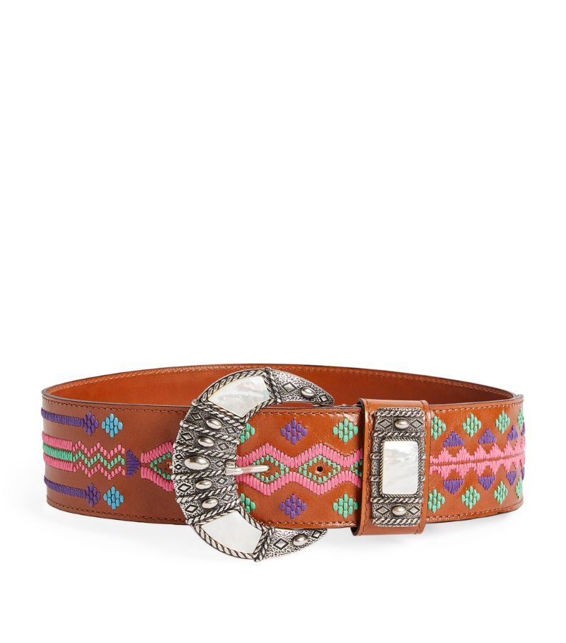 Etro Leather Embroidered Belt