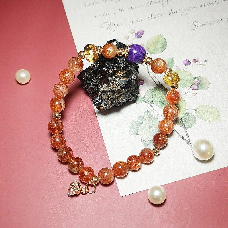 天然太陽石 黃水晶 紫龍晶 設計手鍊