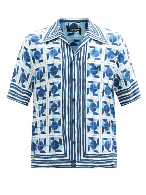 Dolce & Gabbana - Majolica-print Silk-twill Short-sleeved Shirt - Mens - Blue Multi