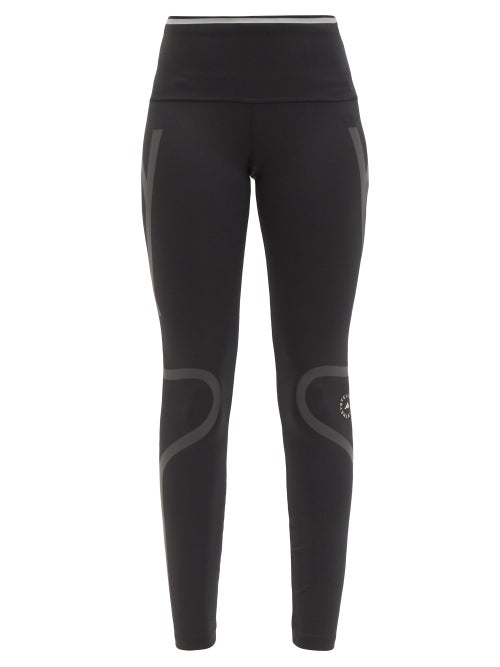 Adidas By Stella Mccartney - Truepace Reflective-tape High-rise Jersey Leggings - Womens - Black