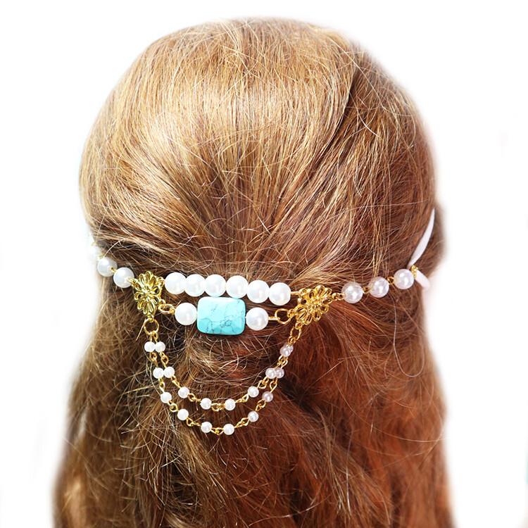 粉紅堂髮飾口罩防痛玉石珍珠鍊組 土耳其石 / 薔薇輝石