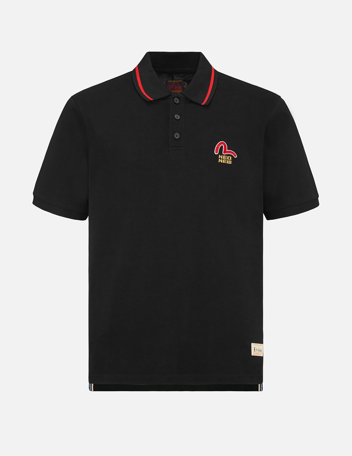 """Seagull and """"NEO NEW"""" Text Embroidered Polo Shirt"""