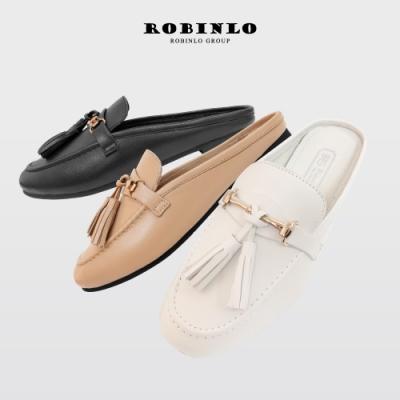 Robinlo全真皮英倫風潮流蘇金屬飾扣平底穆勒鞋 白/可可/黑
