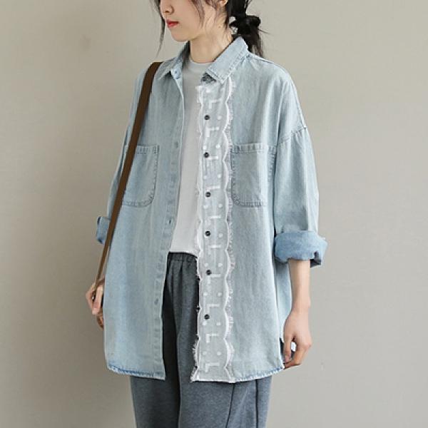 純棉翻領拼接蕾絲牛仔襯衫 單排扣中長款長袖襯衫-夢想家-0318