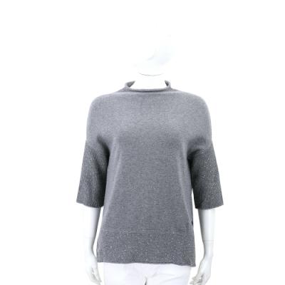 Andre Maurice 亮片織紋拼接灰色喀什米爾針織羊毛衫
