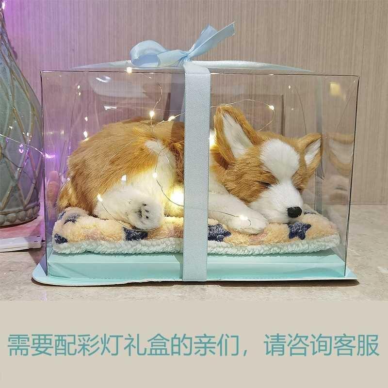 仿真貓咪狗狗金毛犬拉布拉多柯基毛絨公仔動物玩偶呼吸模型玩具貓