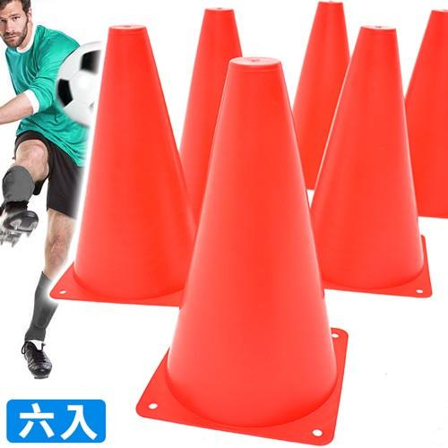 螢光紅23CM三角錐(6入)足球訓練標誌桶23公分標誌筒標誌錐D147-0023直排輪障礙物路錐.錐形筒路障安全錐.角標