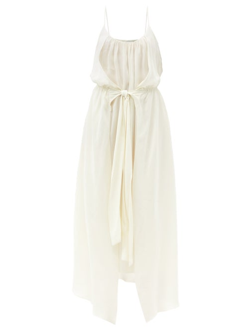 Raey - Knot-front Elasticated-waist Crepe Dress - Womens - Ivory