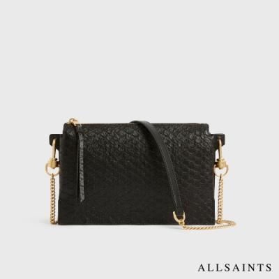 ALLSAINTS FLETCHER 簡約個性蛇紋印花多隔層羊皮斜背包-黑