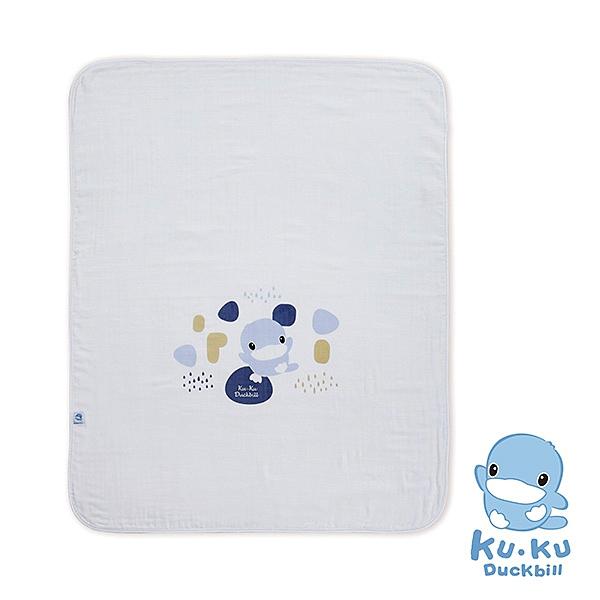 KU KU 酷咕鴨 成長印記紗布大浴巾-藍/粉【佳兒園婦幼館】