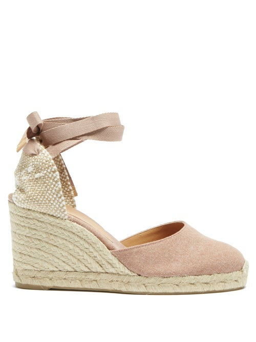 Castañer - Carina 80 Canvas & Jute Espadrille Wedges - Womens - Dark Pink