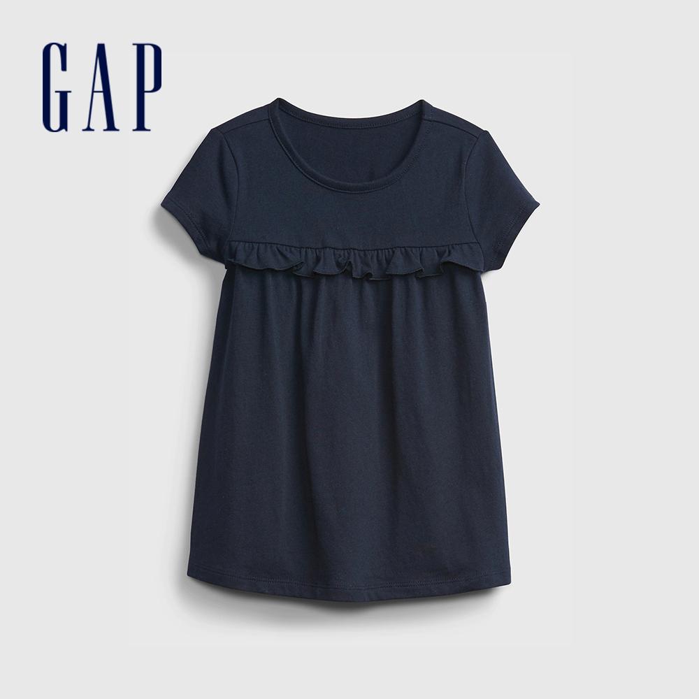Gap 女幼童 布萊納系列 荷葉邊裝飾圓領T恤 664102-藏青色
