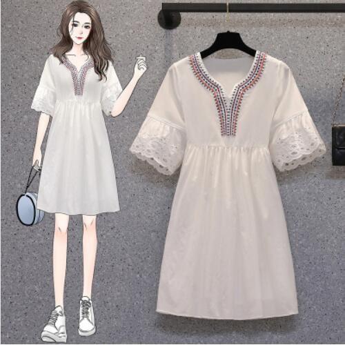 洋裝 裙子 短袖 中大尺碼 L-3XL新款胖妹妹小清新寬鬆顯瘦民族風大碼連身裙3F048A-9018.胖胖美依