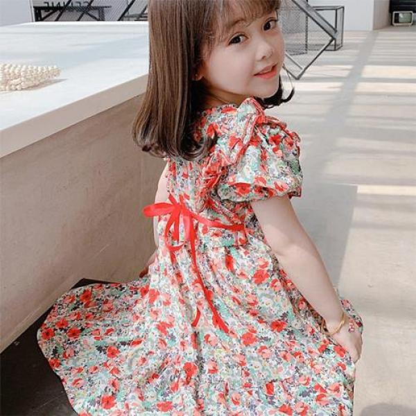 女童夏季短袖紅色碎花裙