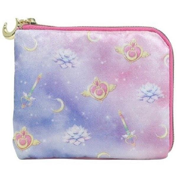 小禮堂 美少女戰士 方形緞面零錢包 尼龍零錢包 票卡包 小物包 (粉紫 滿版) 4930972-51531