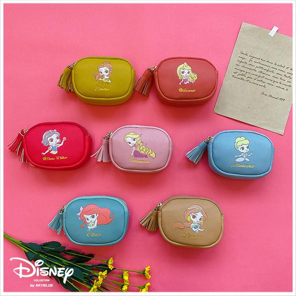 天藍小舖-迪士尼系列Q版公主小流蘇雙層零錢包-共7色-$290【A19190311】
