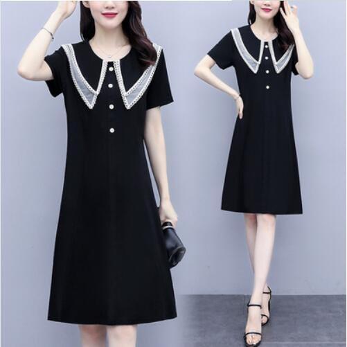 洋裝 小黑裙 中大尺碼 L-5XL新款大碼娃娃領遮肚子顯瘦連身裙NC21-A-7508.胖胖美依