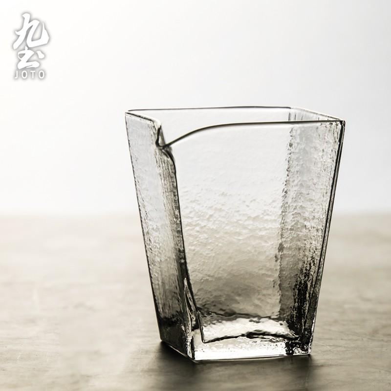 【九土JOTO】錘紋公道杯四方形公道杯錘紋玻璃公道杯四方形分茶器手工耐熱茶海功夫茶具分茶器