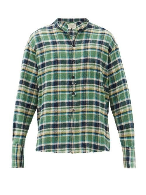 Greg Lauren - Studio Raw-edged Checked Cotton-flannel Shirt - Mens - Green