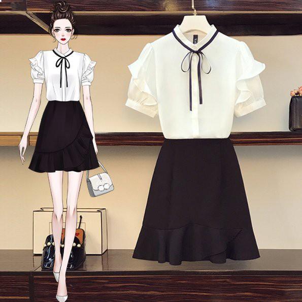 套裝裙 襯衫 上衣 雪紡衫L-4XL中大尺碼短裙半身裙4F082.8823胖胖美依