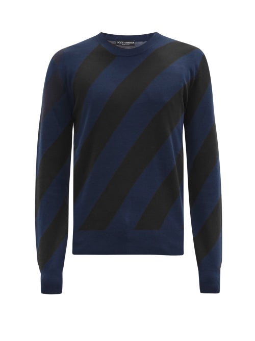 Dolce & Gabbana - Diagonal-striped Cashmere-blend Sweater - Mens - Dark Blue