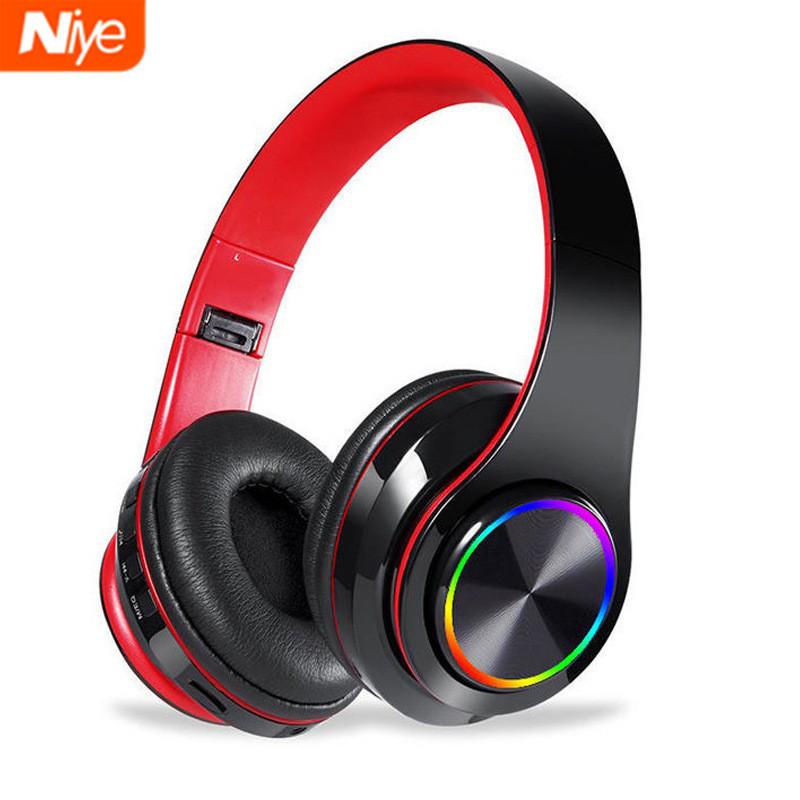 Niye耐也 頭戴式藍牙耳機 藍牙耳麥 韓系耳機 耳罩式藍牙耳機 炫酷LED燈 帶麥克風 耳罩式無線耳機 運動無線耳機