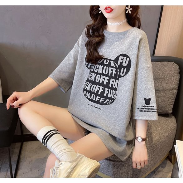 休閒 上衣 卡通學院風M-2XL中長款寬鬆大碼短袖T恤女印花NE416.1510