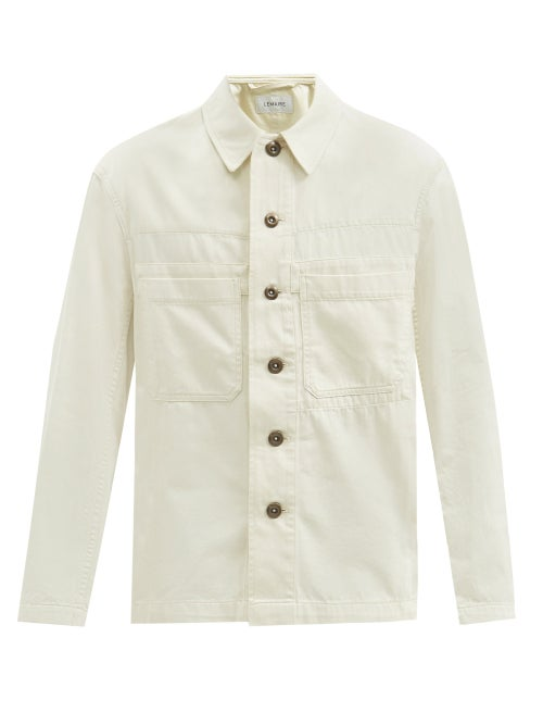 Lemaire - Patch-pocket Denim Shirt - Mens - Cream