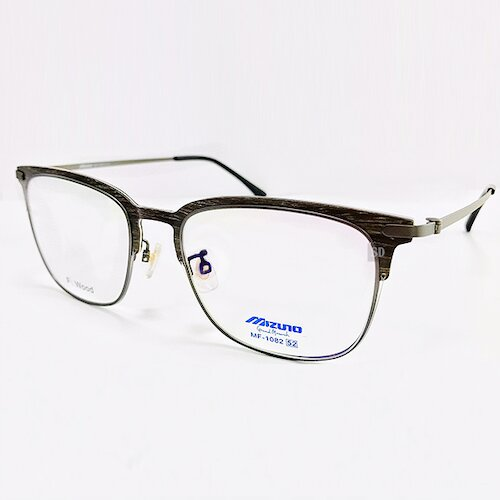 【MIZUNO】美津濃 薄鋼 光學眼鏡鏡框 MF-1082 C04 無螺絲 眉框 橢圓框眼鏡 52mm 深咖木紋