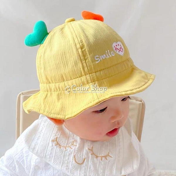 嬰兒帽子春薄款3-24個月純棉可愛抽繩可調節幼兒男女寶寶漁夫帽 快速出貨