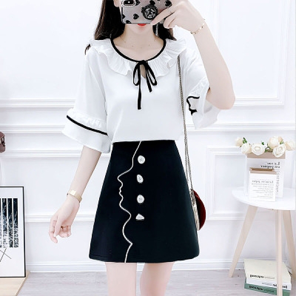 半身裙兩件套 8030#小清新小個子減齡拼色雪紡衫排扣刺繡半身裙兩件套H311-E.1號公館