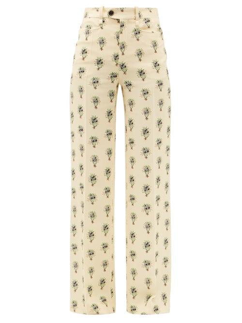 Chloé - Bouquet-print Wide-leg Crepe Trousers - Womens - Cream