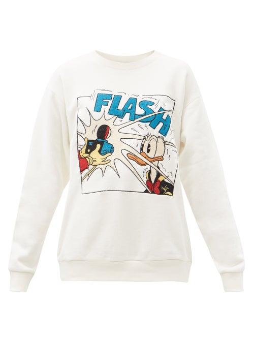 Gucci - X Disney Donald Duck-print Cotton Sweatshirt - Womens - White