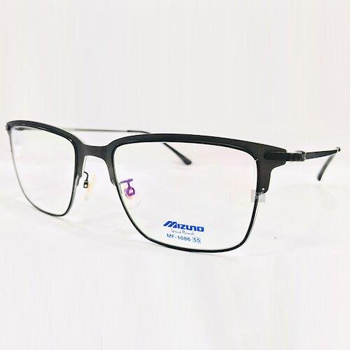 【MIZUNO】美津濃 薄鋼 光學眼鏡鏡框 MF-1086 C03 無螺絲 大方框 鏡框眼鏡 55mm 黑
