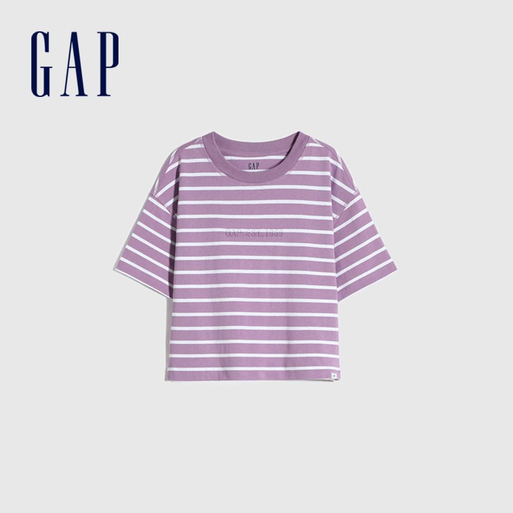Gap 女童 Logo純棉質感厚磅短袖T恤 770922-紫色條紋