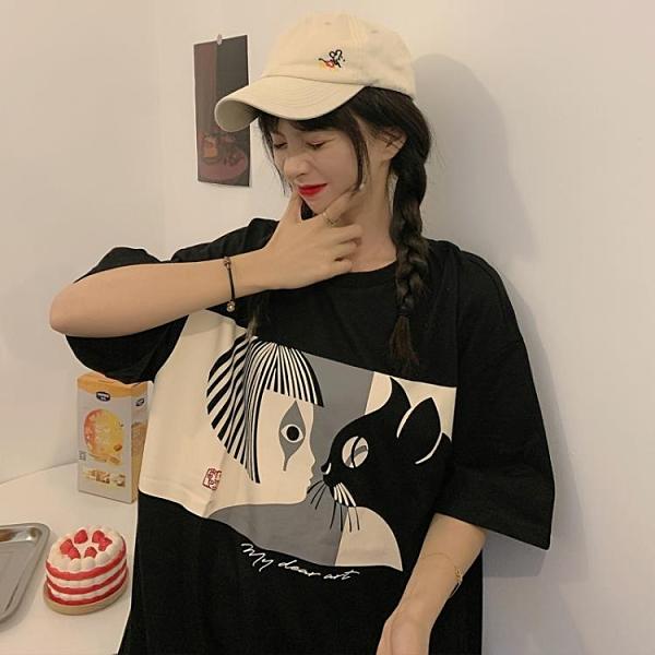 日系古著短袖t恤女寬鬆顯瘦ins潮原宿風hiphop半袖上衣
