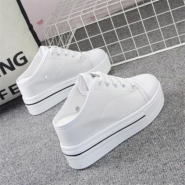 超高跟8cm小白鞋女2021春季新款無后跟半拖鞋內增高透氣帆布鞋夏 3C數位百貨