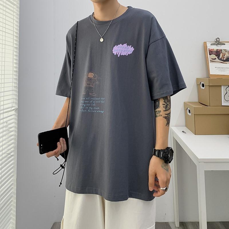 2021夏季衣服男潮流寬鬆百搭韓版t恤男生短袖潮牌ins帥氣網紅半袖