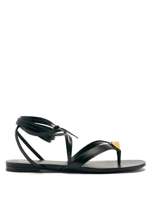 Valentino Garavani - Roman Stud Wraparound Leather Sandals - Womens - Black