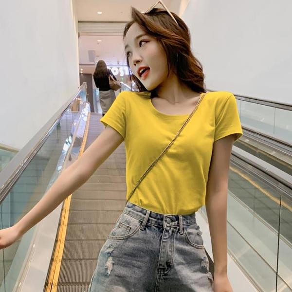 短袖t恤女2021年新款修身純色打底衫氣質夏裝白色上衣純棉半袖t桖