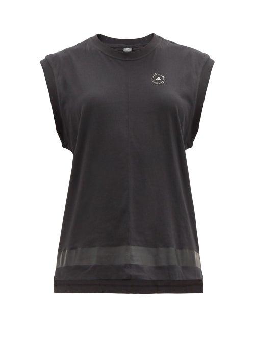 Adidas By Stella Mccartney - Logo-print Organic Cotton-jersey Tank Top - Womens - Black