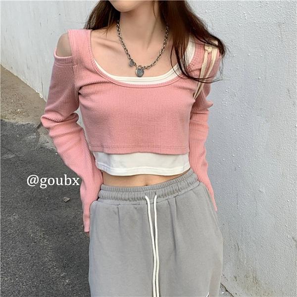 2021年春季新款修身短款露肩露臍上衣女粉色百搭長袖打底衫T恤潮