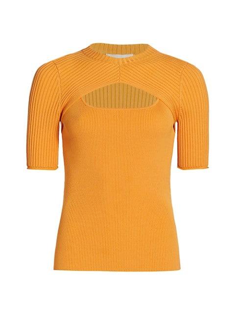 Keira Compact Rib Cut Out Crewneck T-Shirt