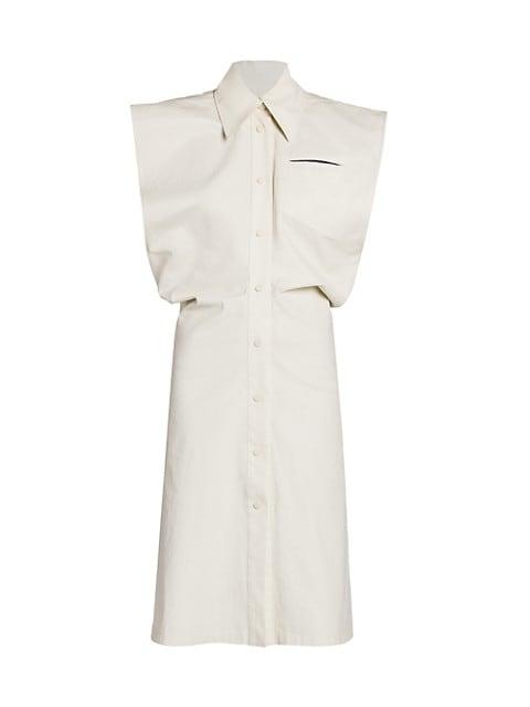 Sleeveless Button Down Toile Shirtdress
