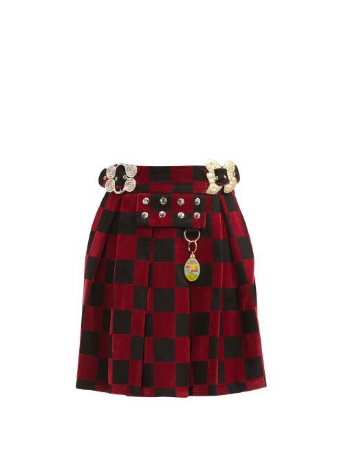 Chopova Lowena - Checked Organic-cotton Twill Skirt - Womens - Black Red