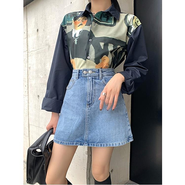 wawa牛仔裙女韓版高腰短裙2021春裝防走光褲裙淺藍色A字半身裙子 陽光好物