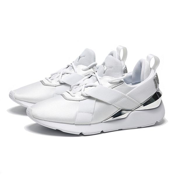 PUMA 休閒鞋 MUSE X 3METALLIC 白銀 金屬 繃帶鞋 女(布魯克林) 37513102