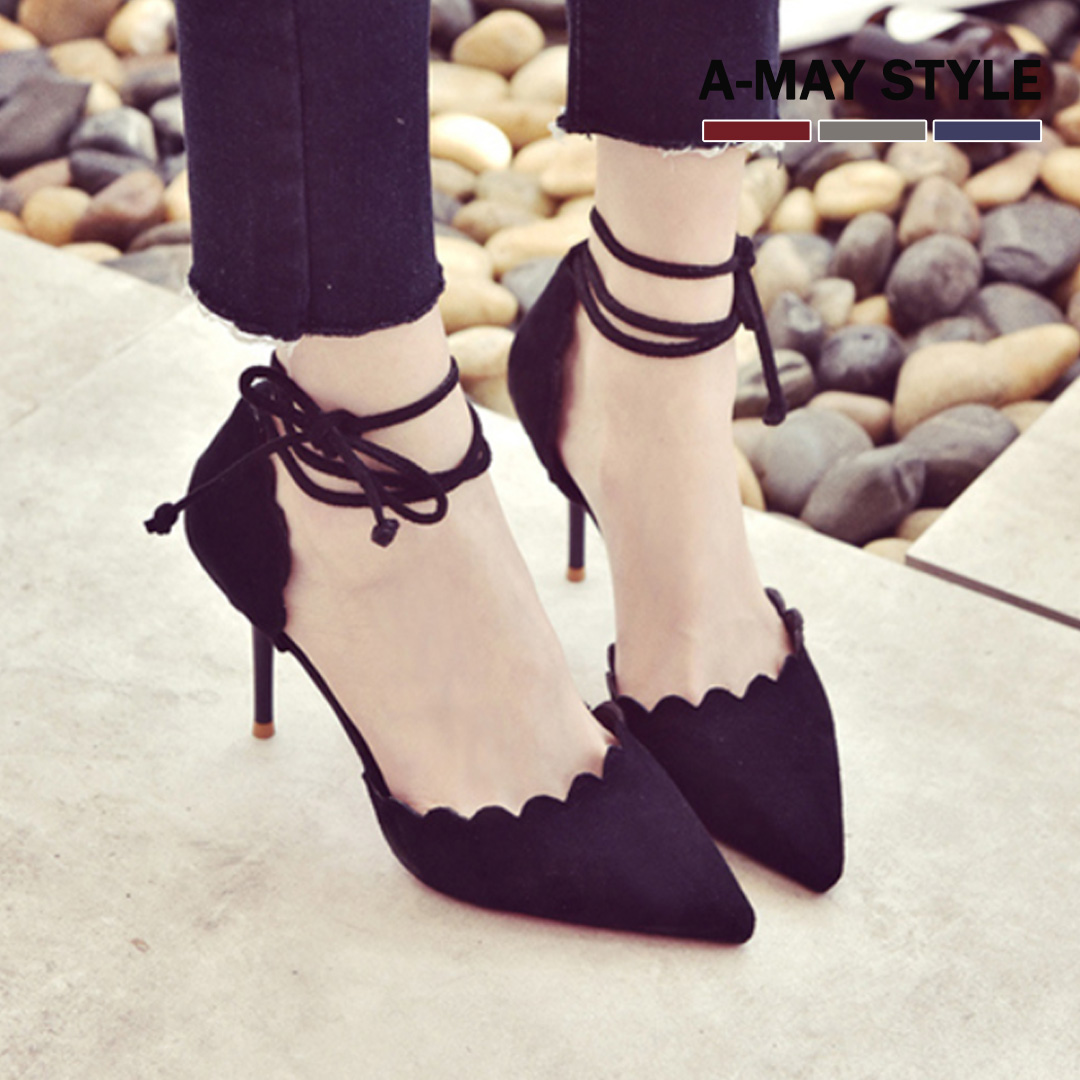 現貨婚鞋-氣質花邊繞踝環帶高跟鞋【XK0301315】 艾美時尚