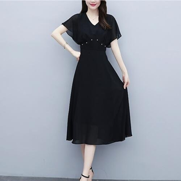 洋裝雪紡裙中大尺碼L-5XLV領連身裙收腰遮肚子顯瘦時尚氣質大碼長裙N181C-806.依品國際