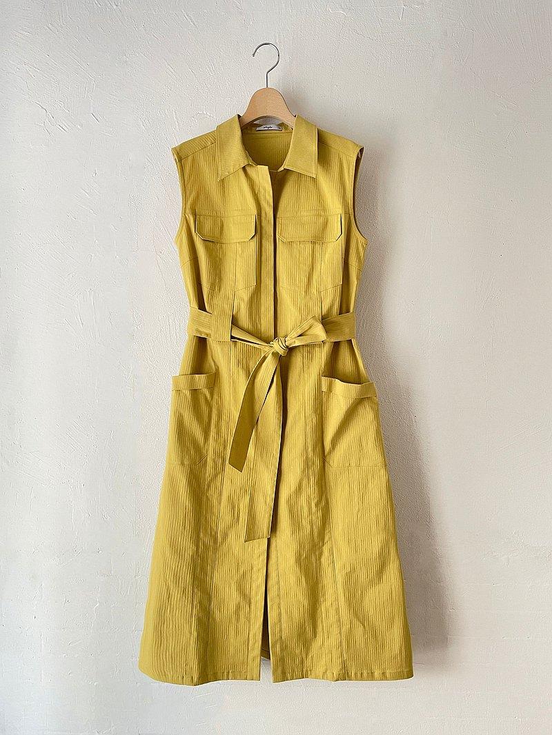 個性無袖綁帶洋裝(黃)